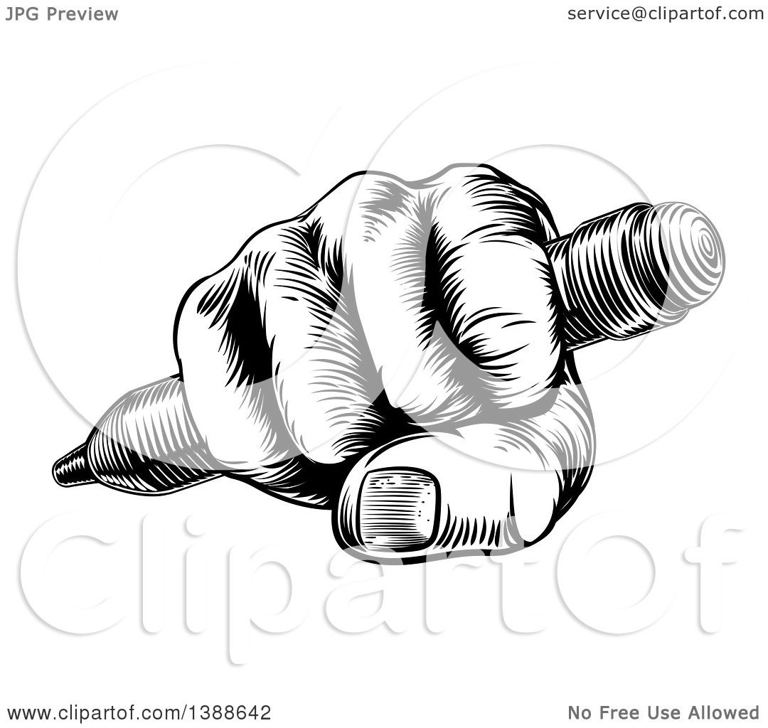 Clipart Of A Retro Black And White Woodcut Or Engraved