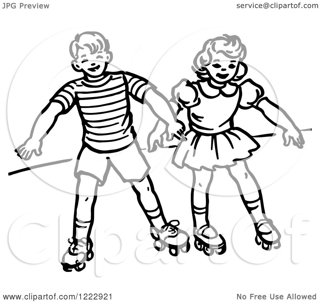 Clipart Of A Retro Boy And Girl Roller Skating In Black