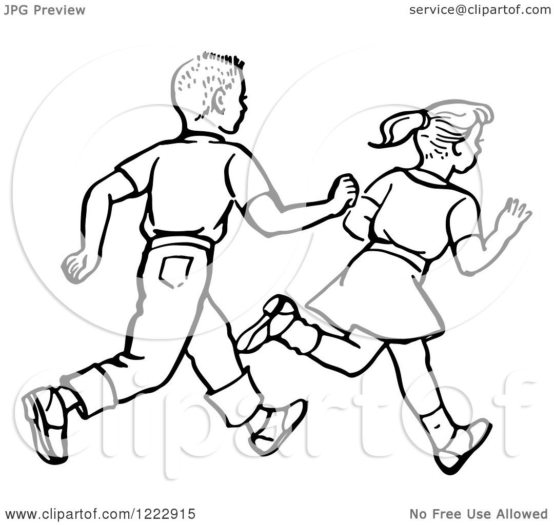 Clipart Of A Retro Boy And Girl Running In Black And White