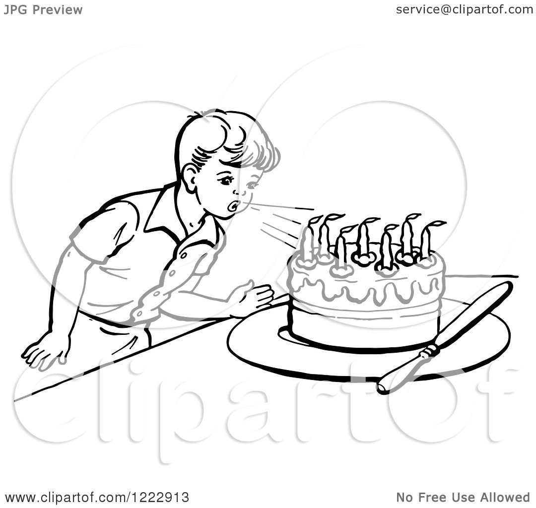 Clipart Of A Retro Boy Blowing Out Birthday Cake Candles