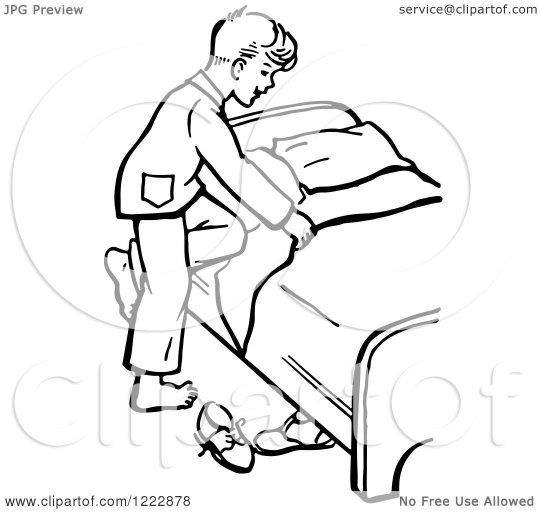 Clipart Of A Retro Boy Climbing Into Bed In Black And