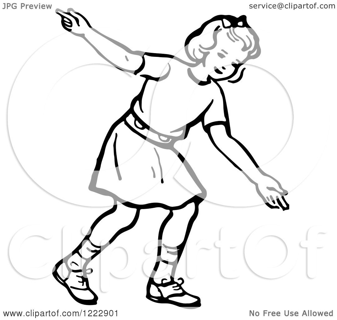 Clipart Of A Retro Girl After Releasing A Bowling Ball In