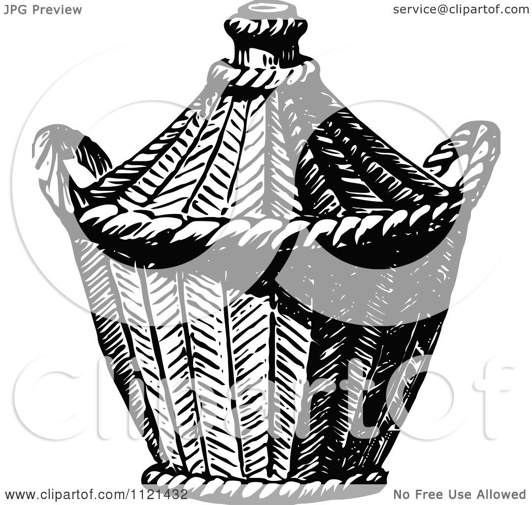 Clipart Of A Retro Vintage Black And White Basket