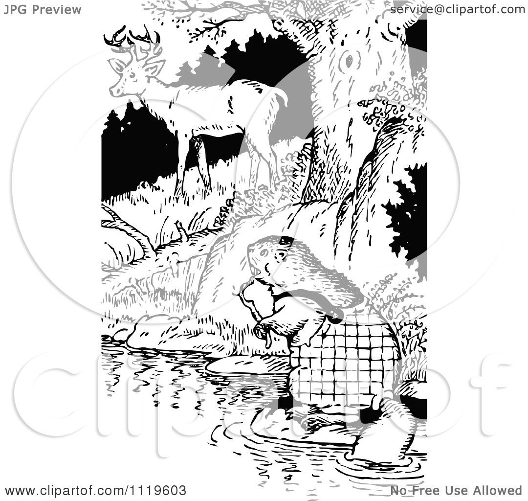 Clipart Of A Retro Vintage Black And White Beaver And Deer