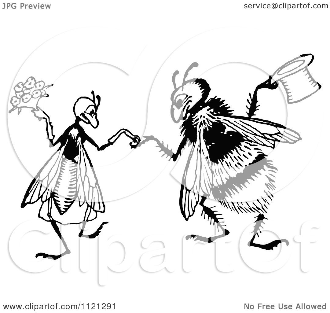 Clipart Of A Retro Vintage Black And White Bee Wedding
