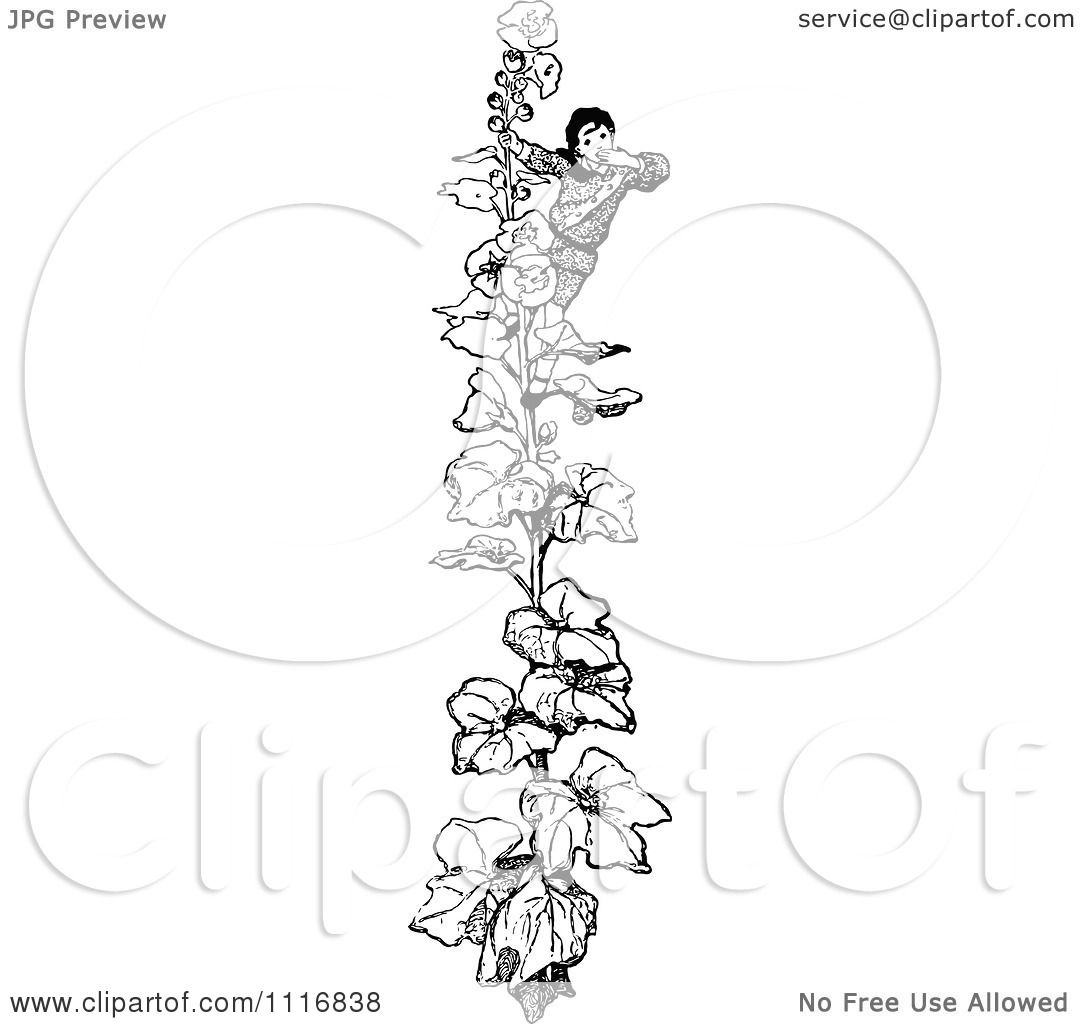 Clipart Of A Retro Vintage Black And White Boy Climbing A