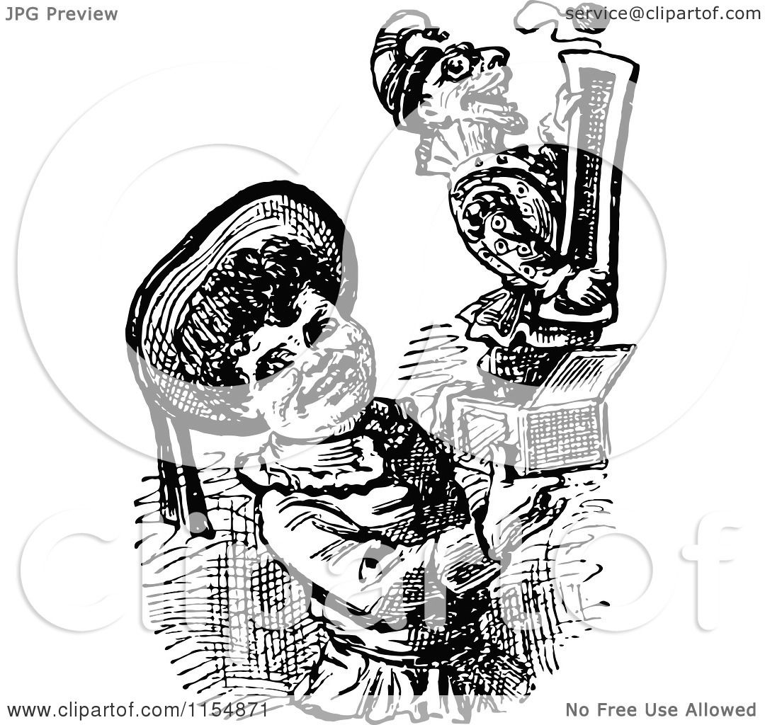 Clipart Of A Retro Vintage Black And White Boy Holding A