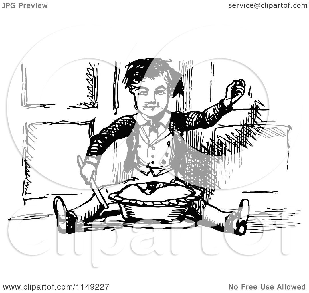 Clipart Of A Retro Vintage Black And White Boy Sitting