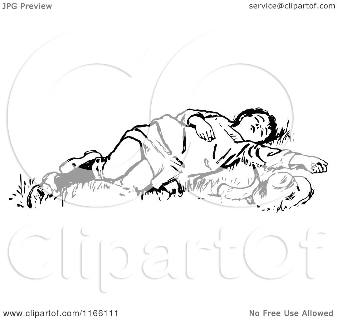 Clipart Of A Retro Vintage Black And White Boy Sleeping In