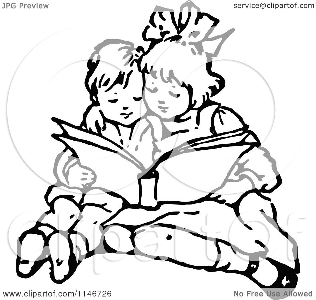 Clipart Of A Retro Vintage Black And White Brother And