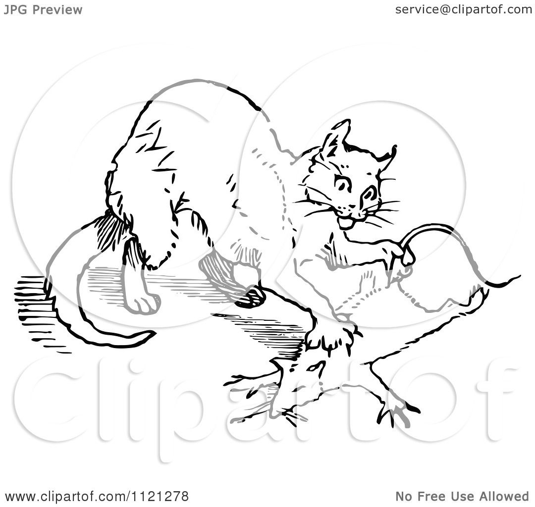 Clipart Of A Retro Vintage Black And White Cat Hunting A