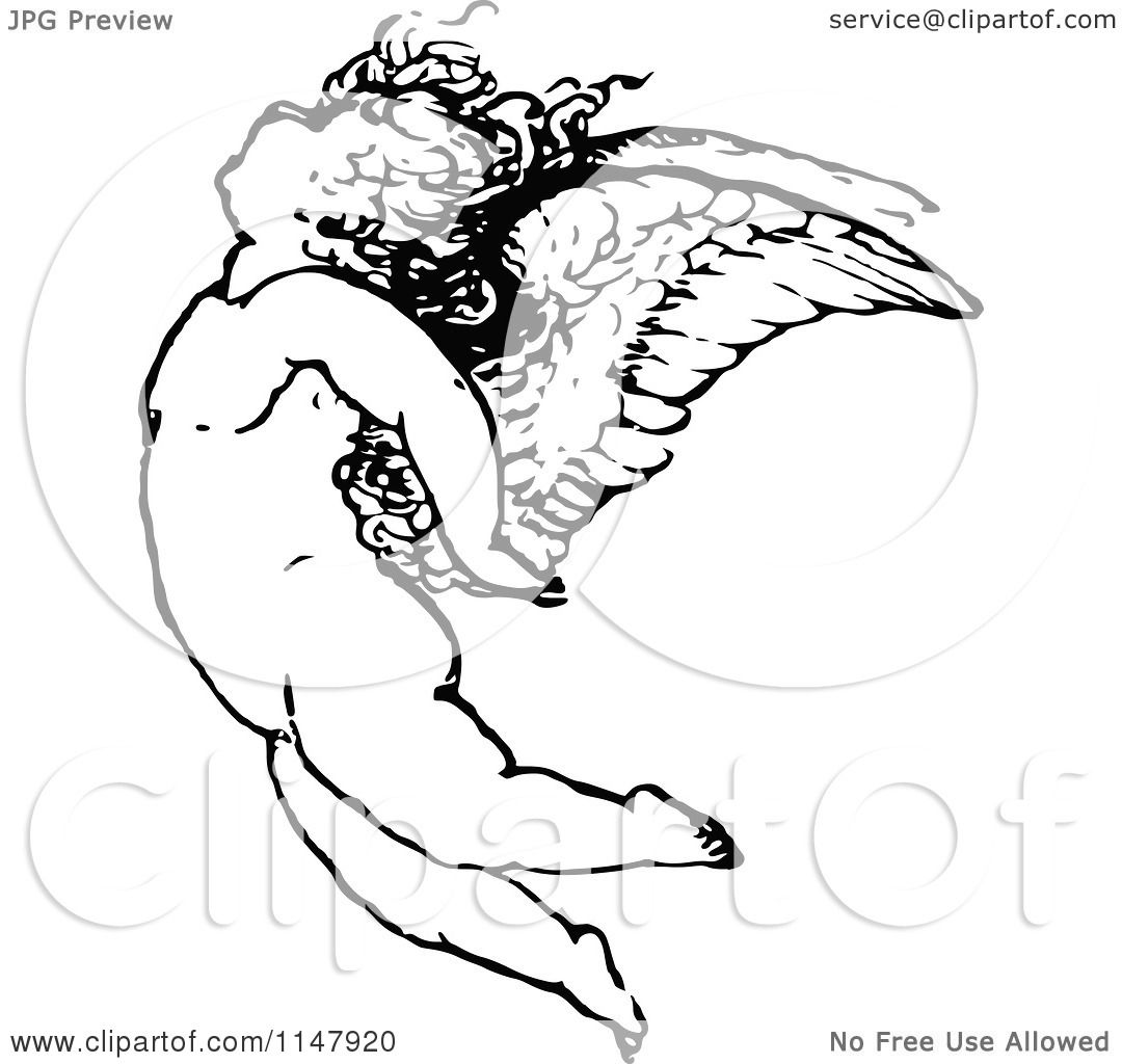 Clipart Of A Retro Vintage Black And White Cherub Flying