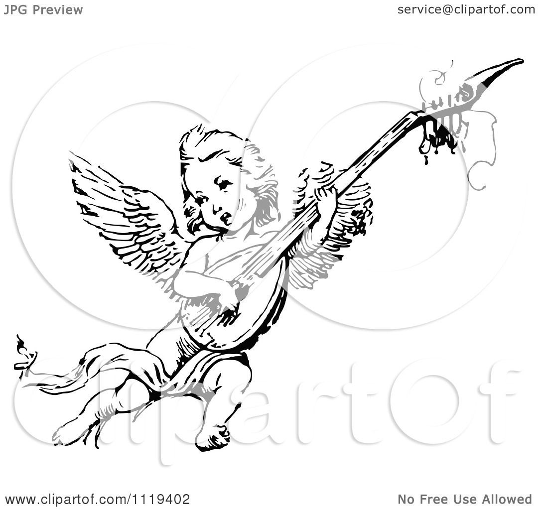 Clipart Of A Retro Vintage Black And White Cherub Playing