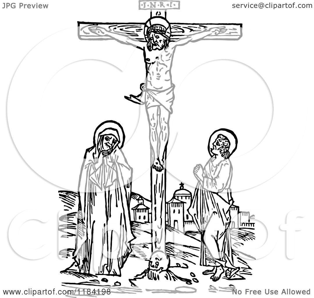 Clipart Of A Retro Vintage Black And White Christ