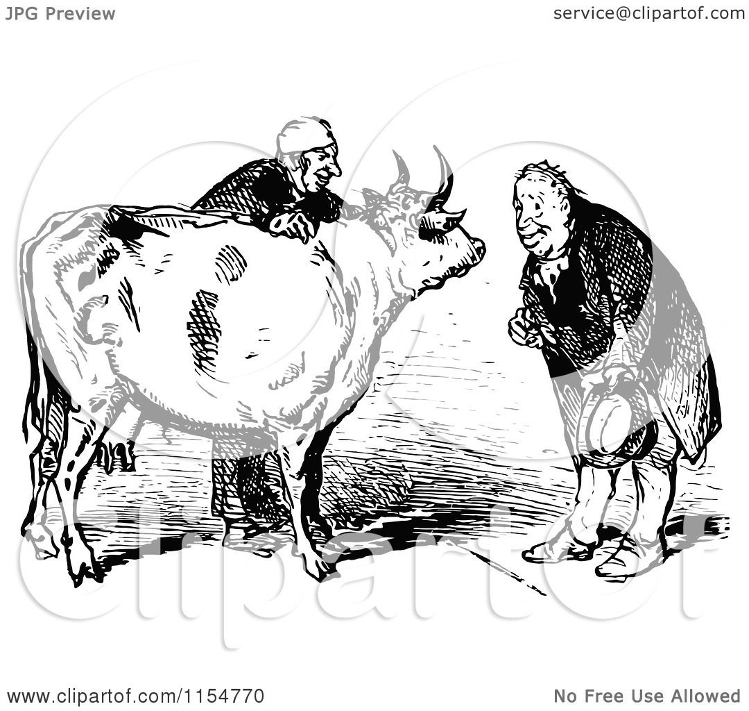 Clipart Of A Retro Vintage Black And White Cow And Men