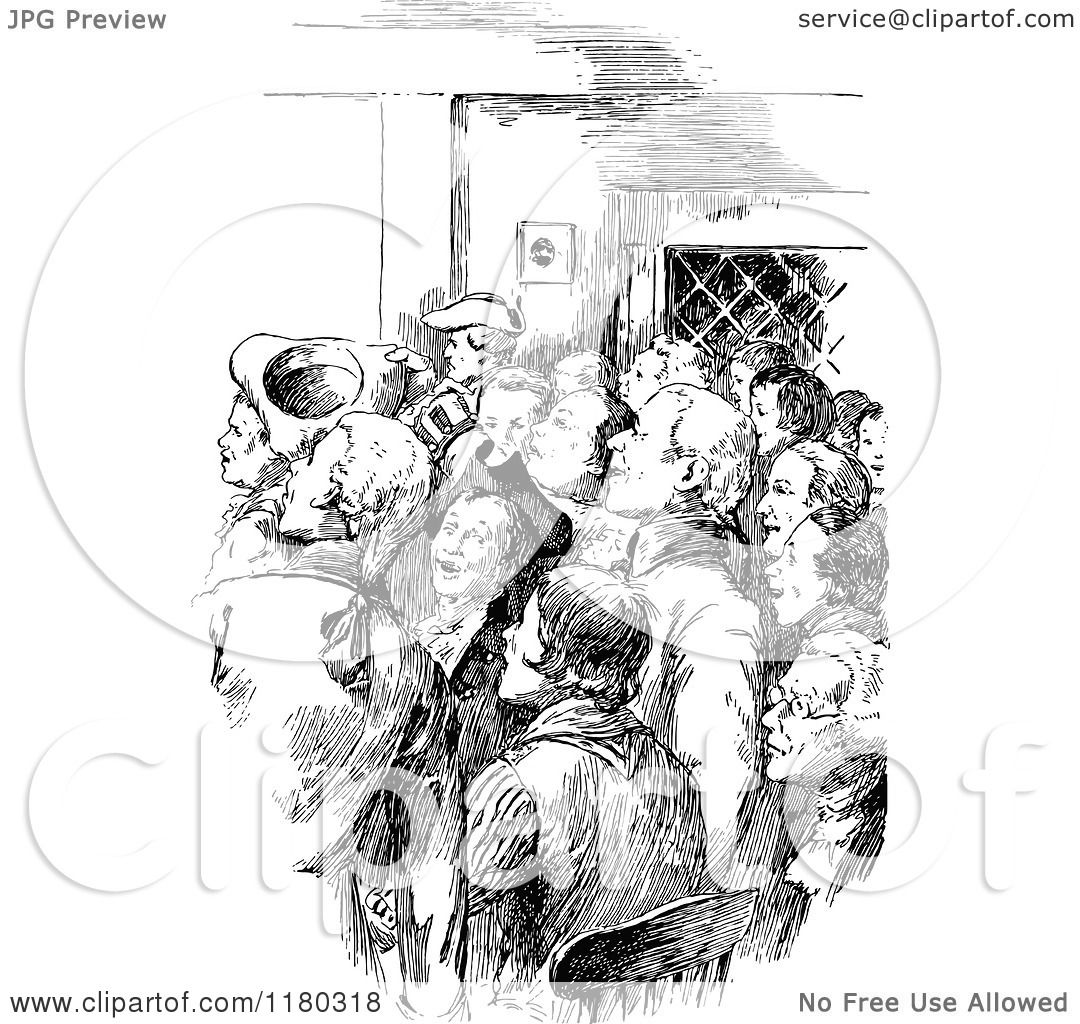 Clipart Of A Retro Vintage Black And White Crowd Of Men