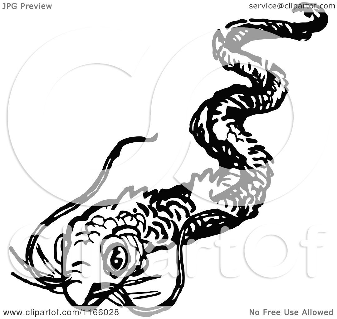 Clipart Of A Retro Vintage Black And White Eel