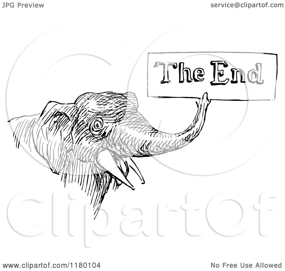 Clipart Of A Retro Vintage Black And White Elephant