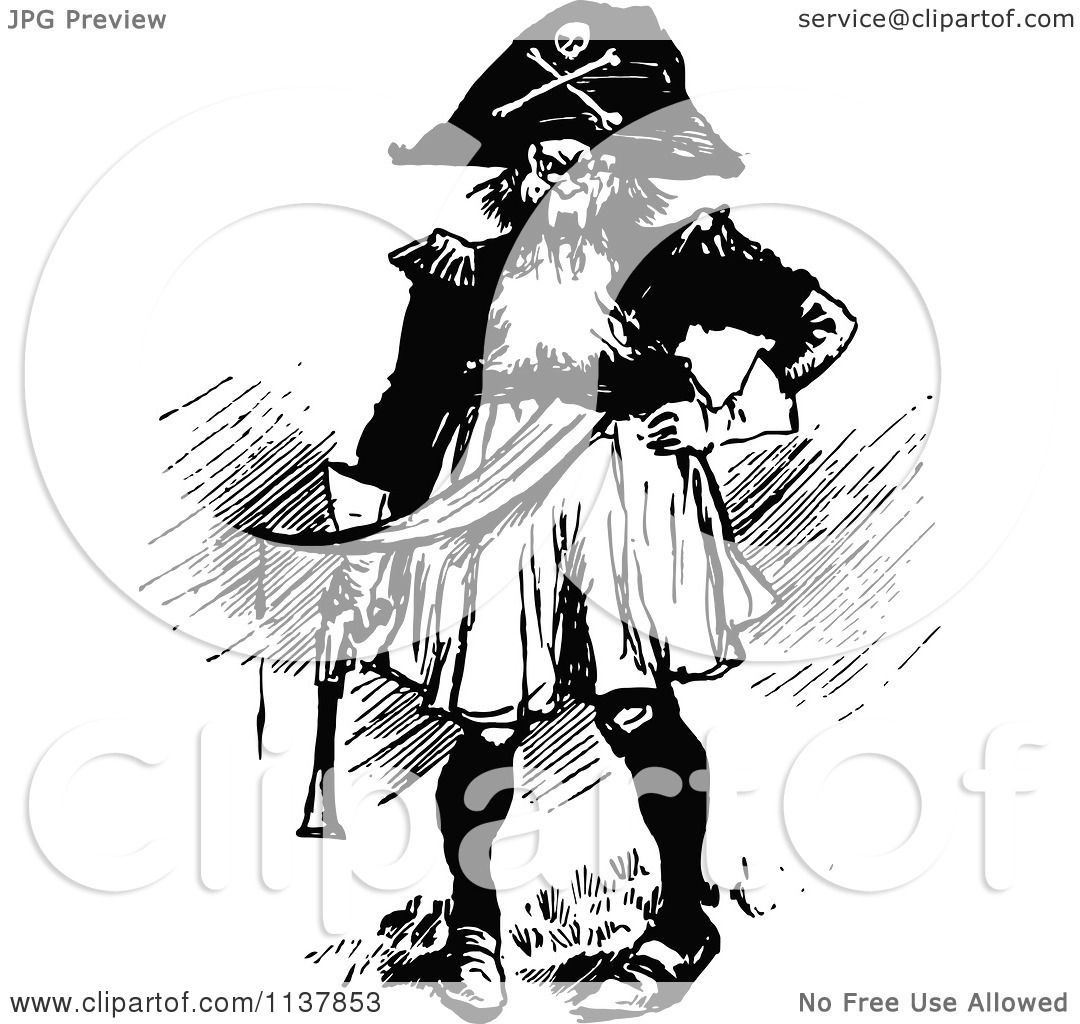 Clipart Of A Retro Vintage Black And White Evil Pirate