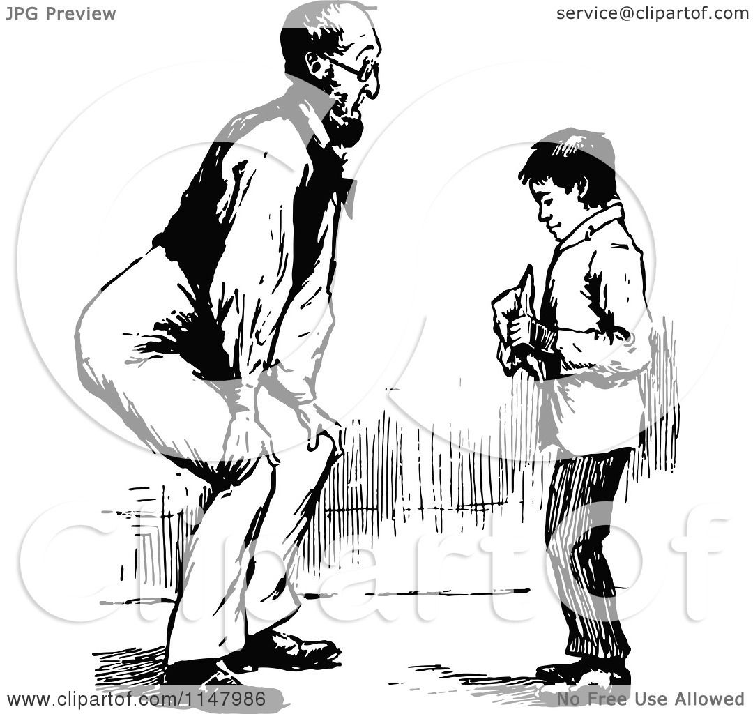 Clipart Of A Retro Vintage Black And White Father Bending