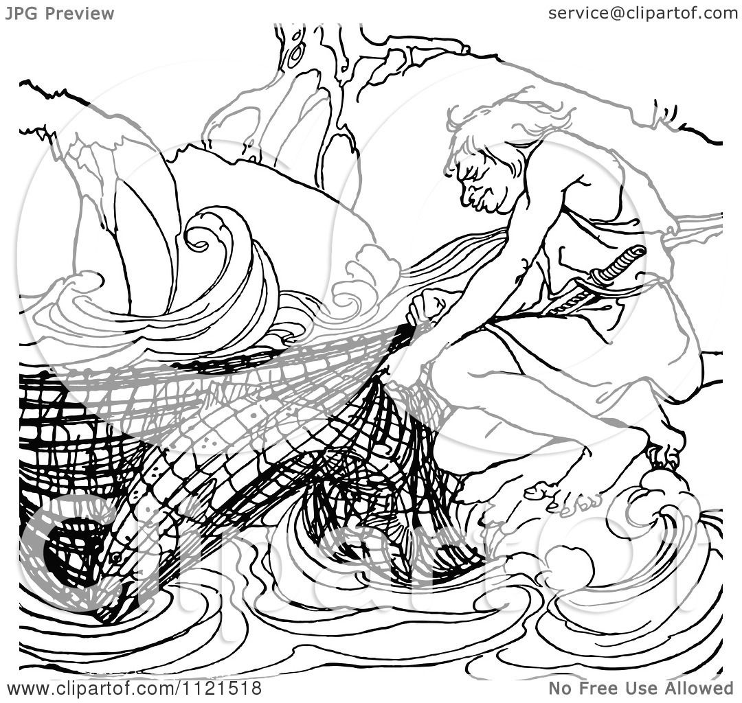 Clipart Of A Retro Vintage Black And White Fisherman With