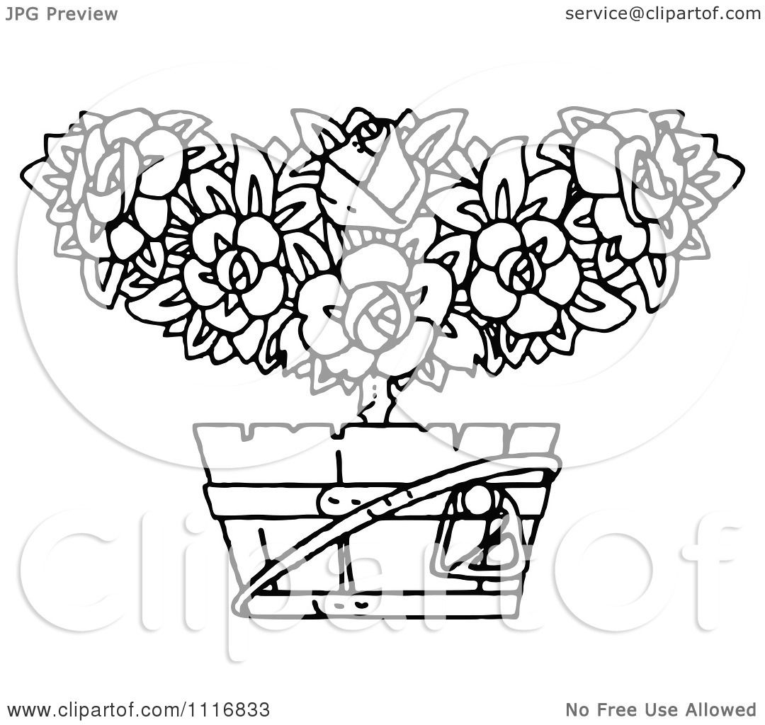 Clipart Of A Retro Vintage Black And White Flowering Shrub