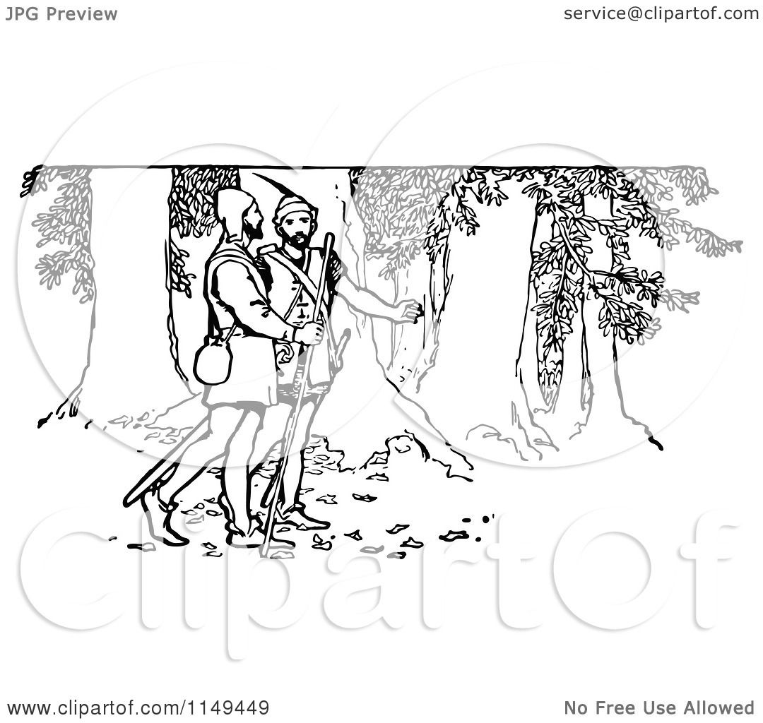 Clipart Of A Retro Vintage Black And White Forest Men In
