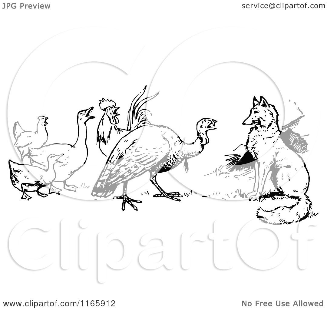 Clipart Of A Retro Vintage Black And White Fox Turkey And