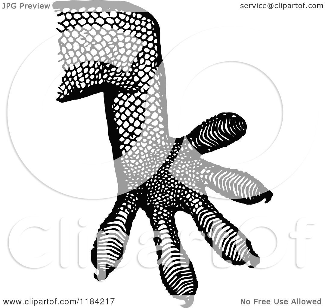 Clipart Of A Retro Vintage Black And White Gecko Leg