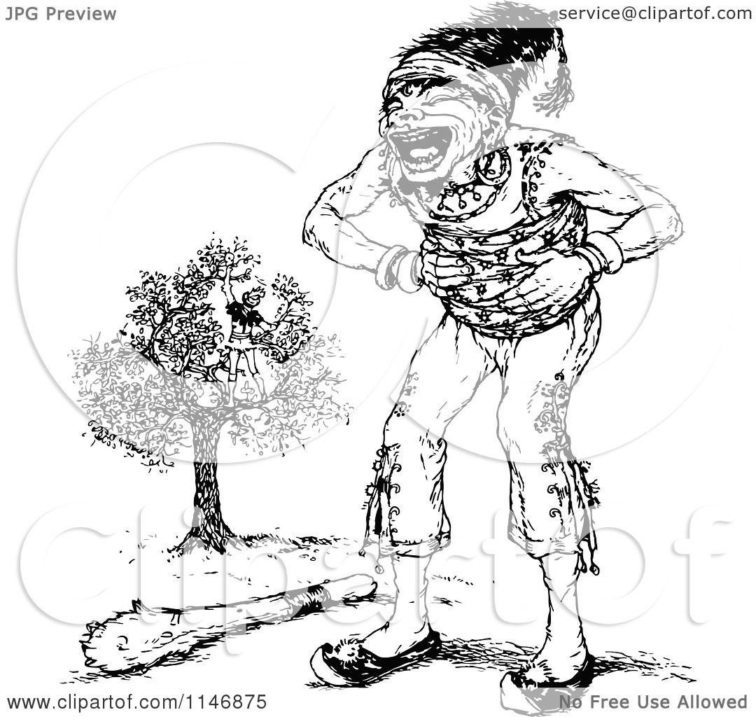 Clipart Of A Retro Vintage Black And White Giant Laughing