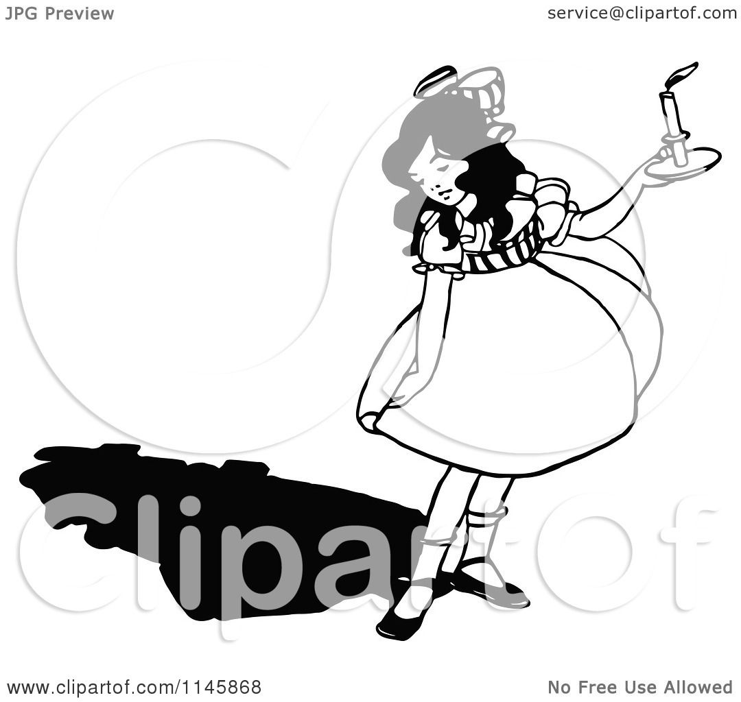 Clipart Of A Retro Vintage Black And White Girl Looking At