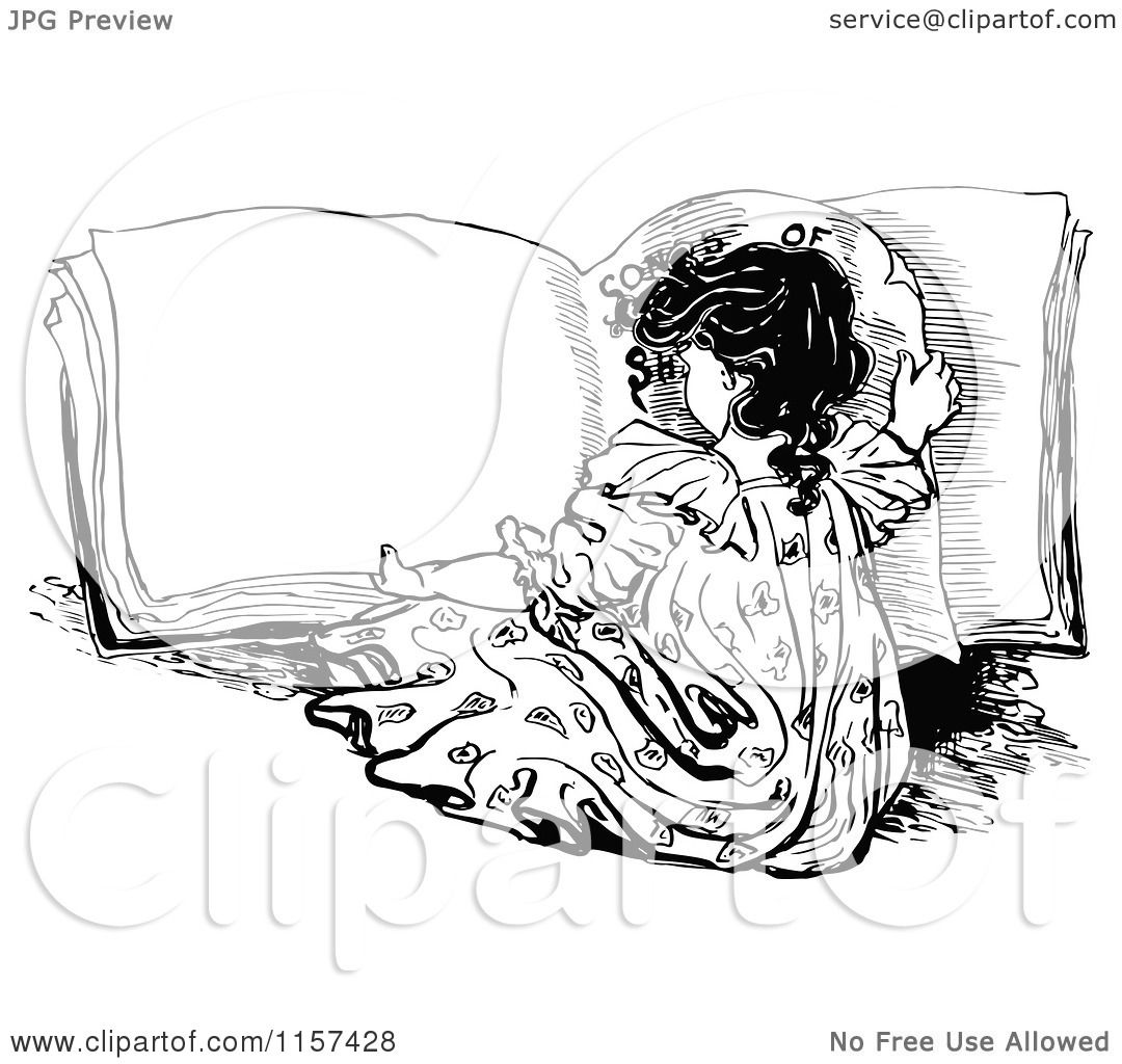 Clipart Of A Retro Vintage Black And White Girl Reading A