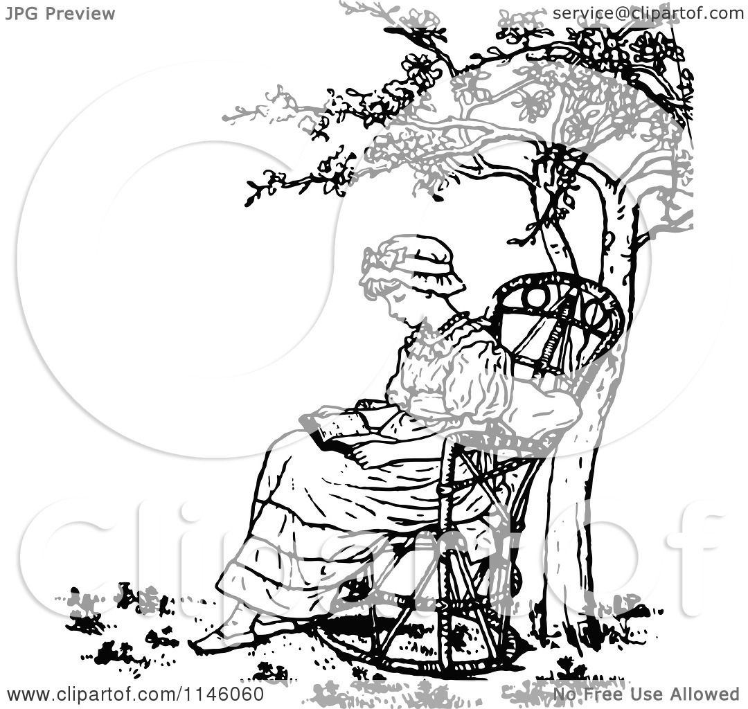 Clipart Of A Retro Vintage Black And White Girl Reading