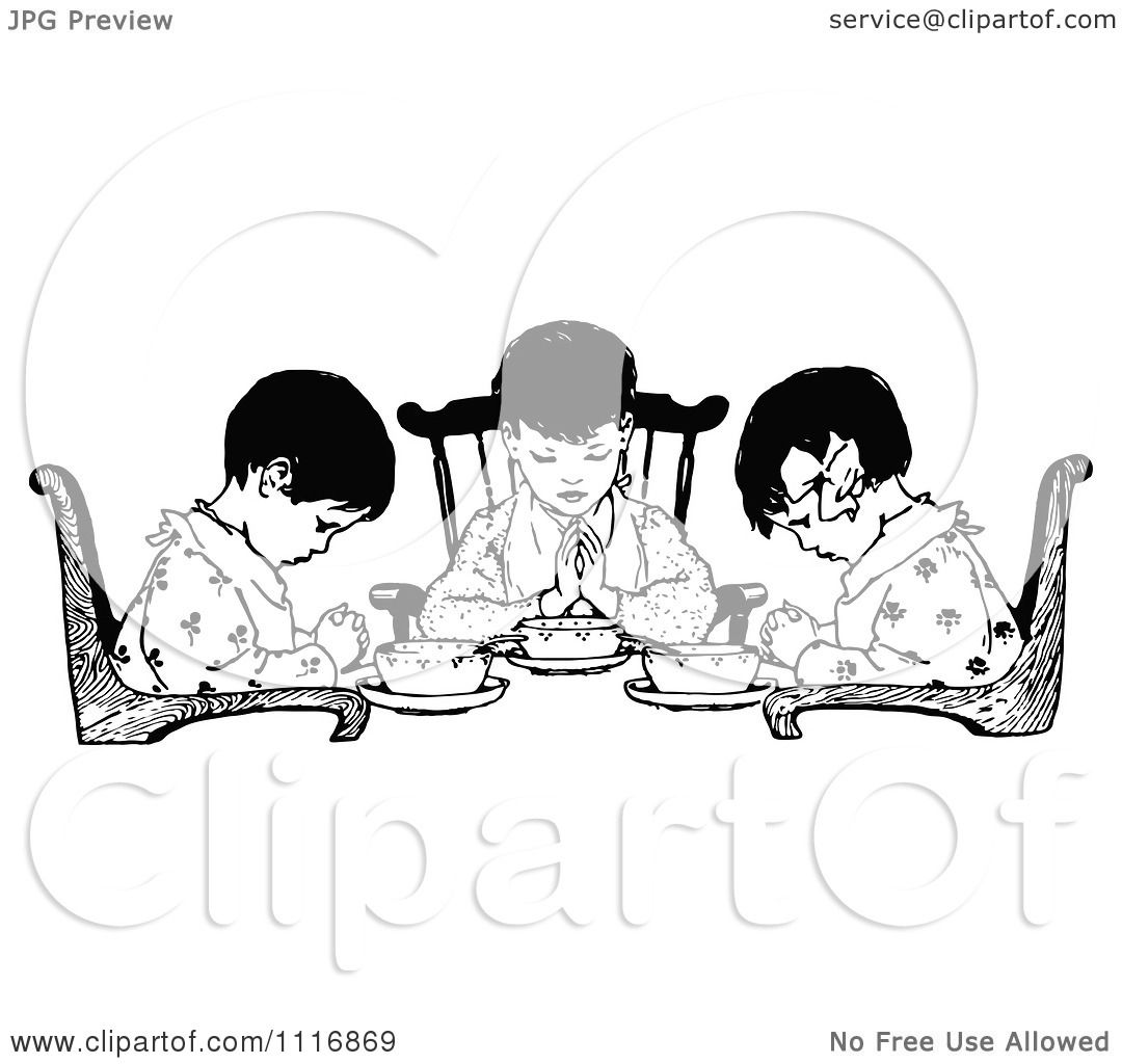Clipart Of A Retro Vintage Black And White Girls Praying Over Food