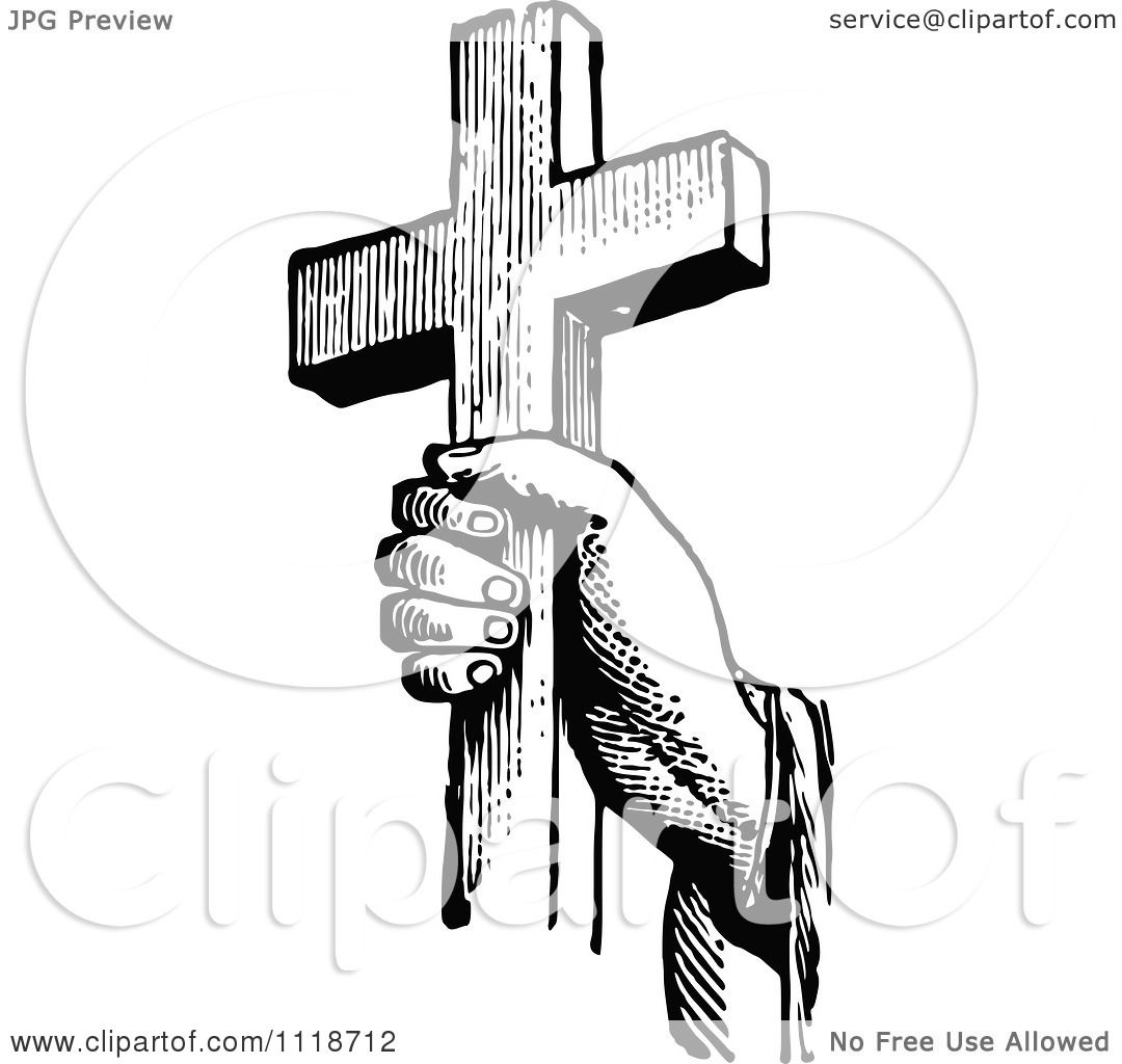 Clipart Of A Retro Vintage Black And White Hand Holding A
