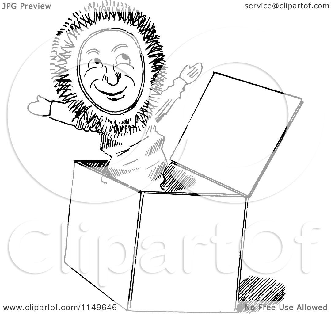 Clipart Of A Retro Vintage Black And White Jack In The Box