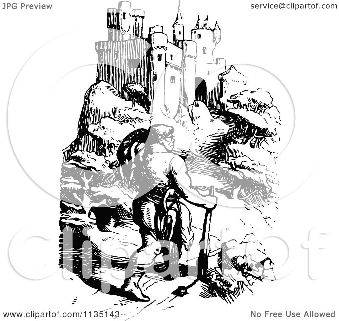 Clipart Of A Retro Vintage Black And White Jack The Giant