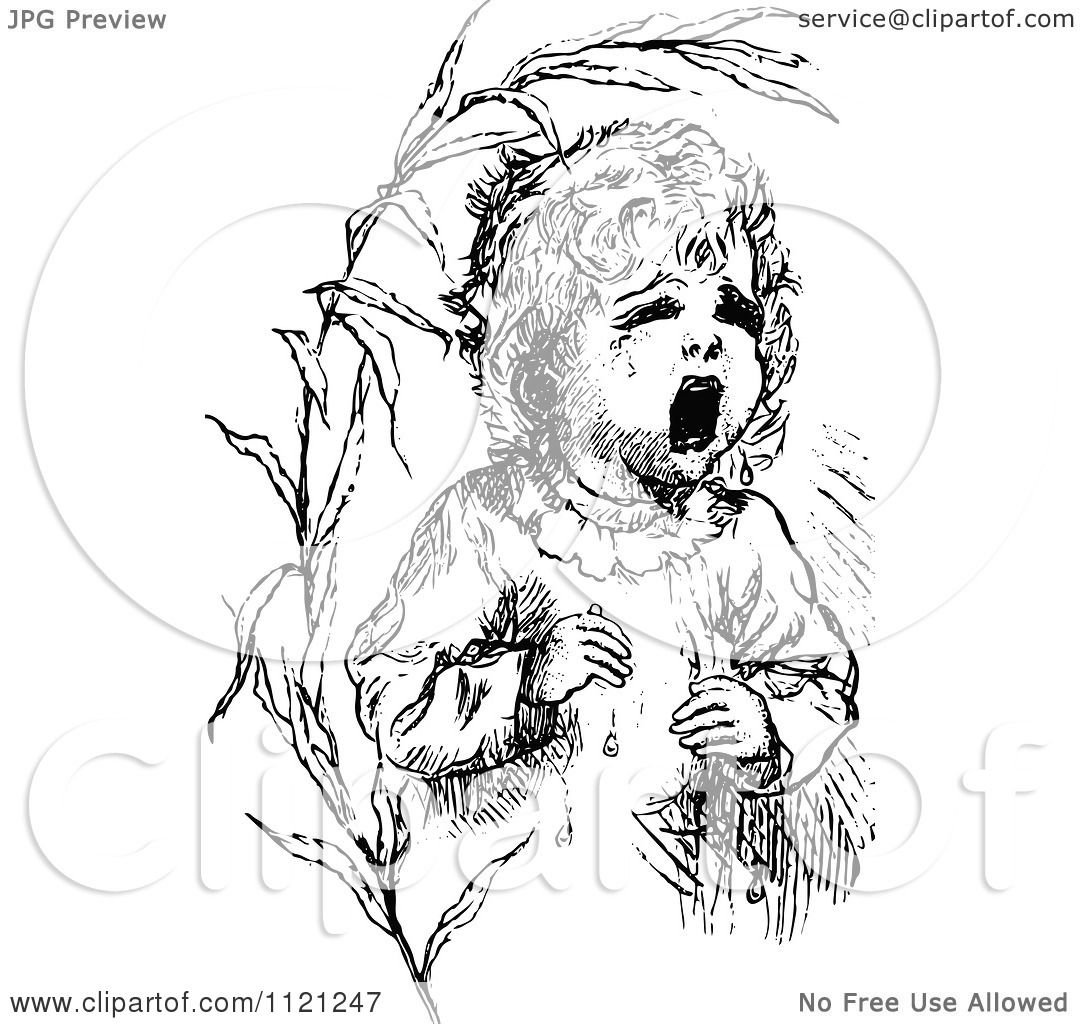 Clipart Of A Retro Vintage Black And White Lost Baby