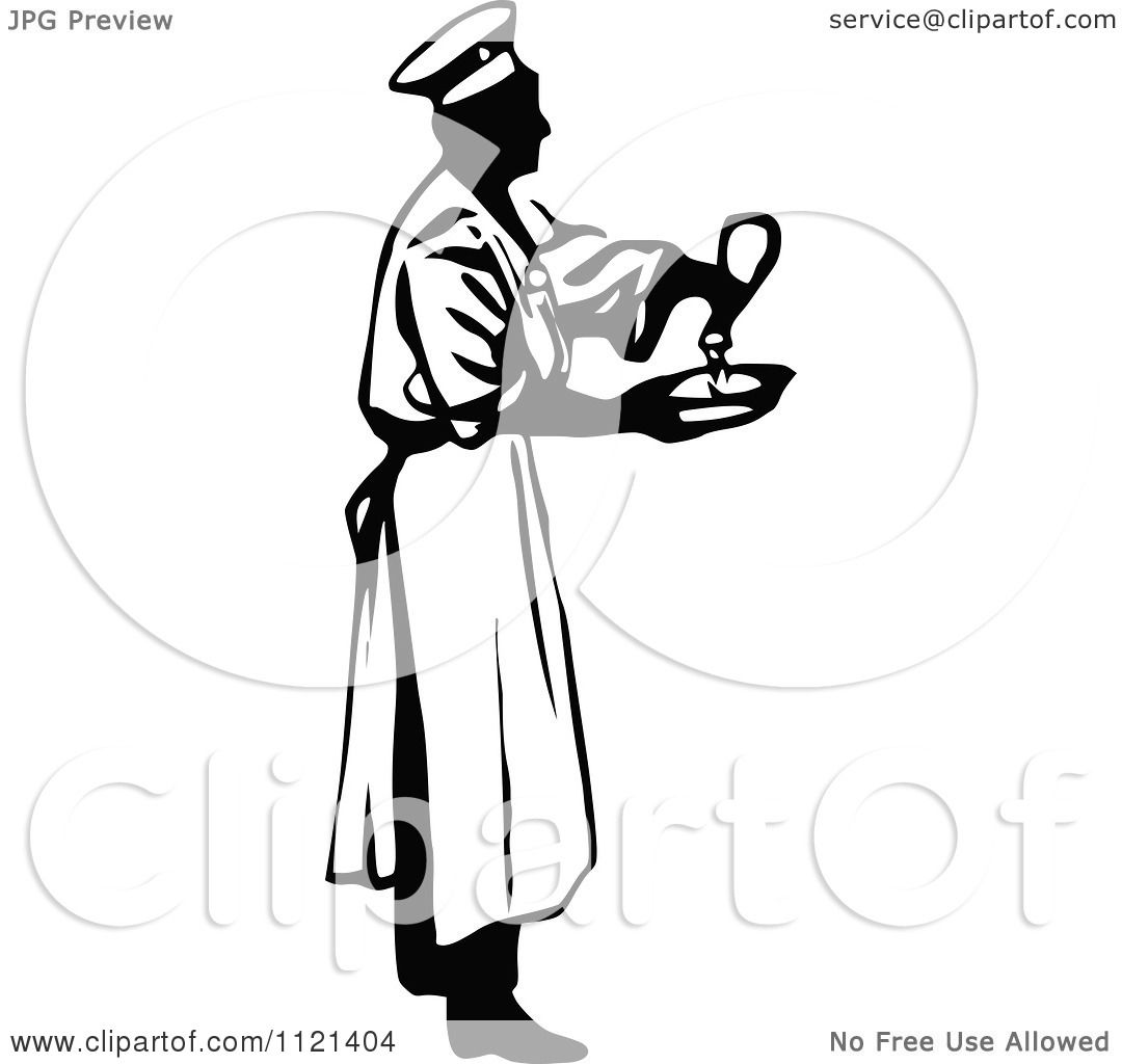Clipart Of A Retro Vintage Black And White Male Chef