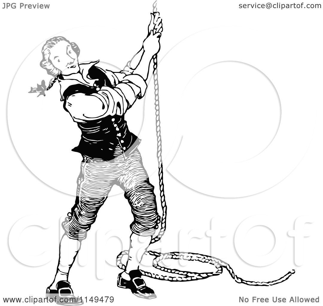Clipart Of A Retro Vintage Black And White Man Pulling