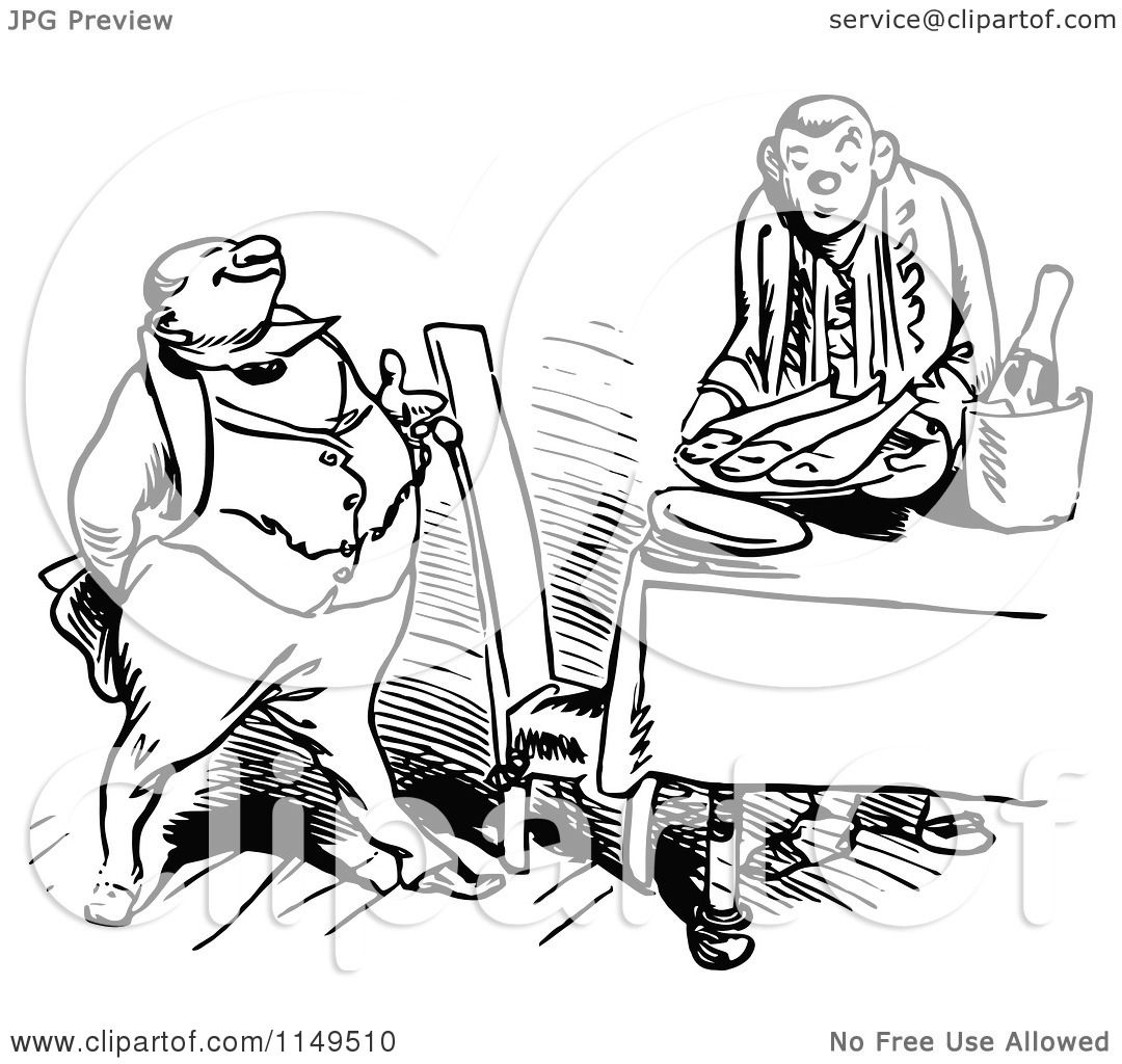 Clipart Of A Retro Vintage Black And White Man Timing His