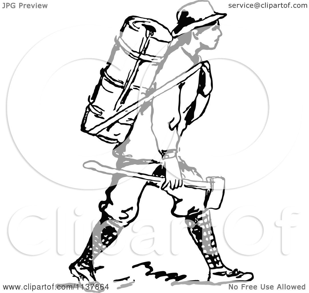 Clipart Of A Retro Vintage Black And White Man With A