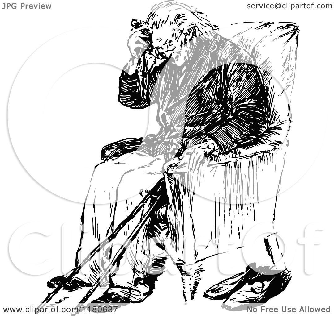 Clipart Of A Retro Vintage Black And White Old Man Sitting