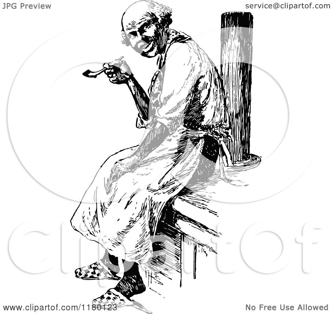 Clipart Of A Retro Vintage Black And White Old Man Smoking