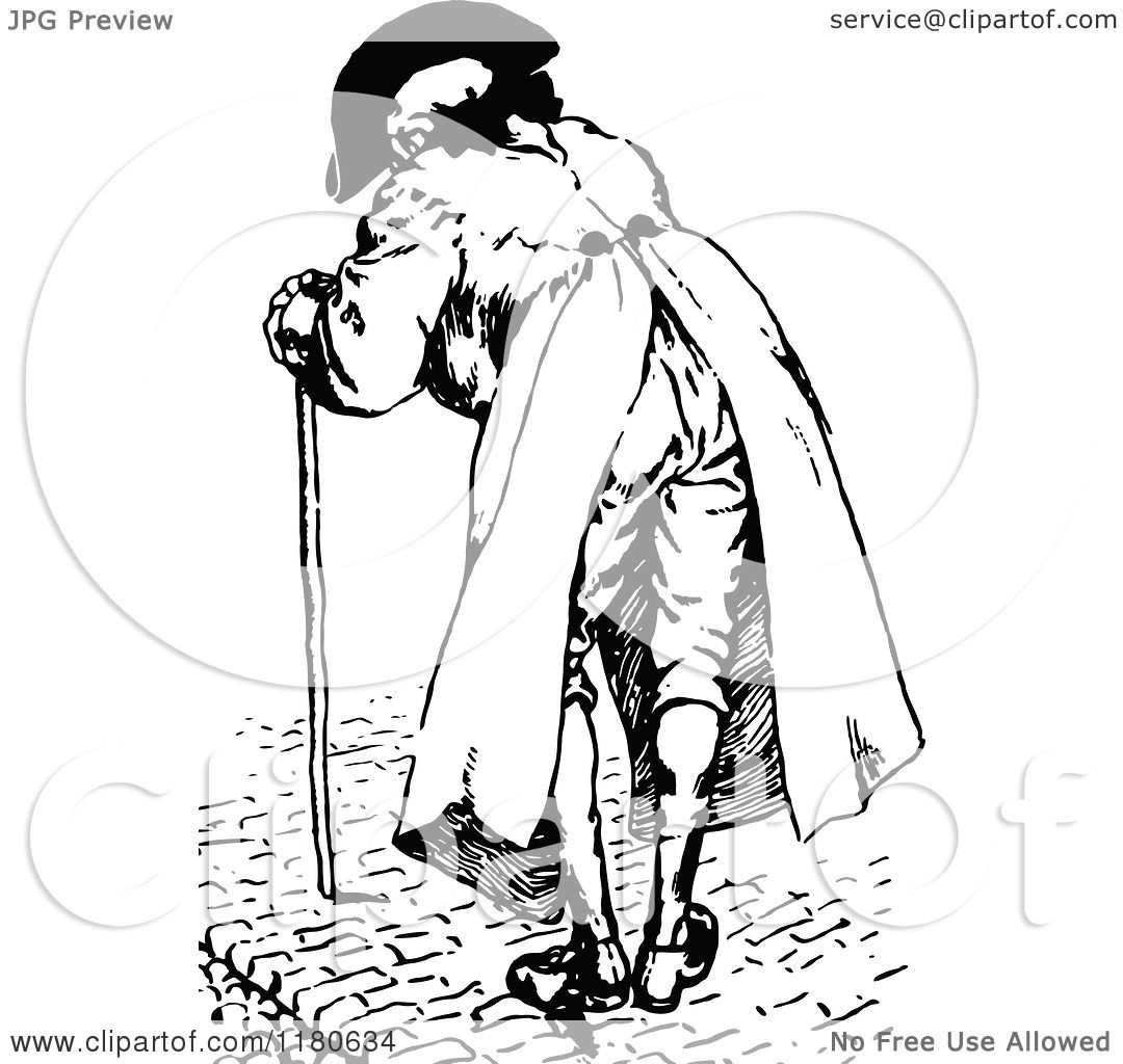 Clipart Of A Retro Vintage Black And White Old Man With A