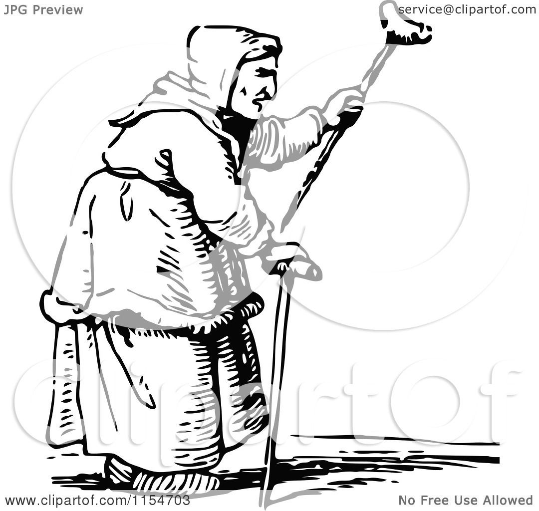 Clipart Of A Retro Vintage Black And White Old Woman Waving A Cane