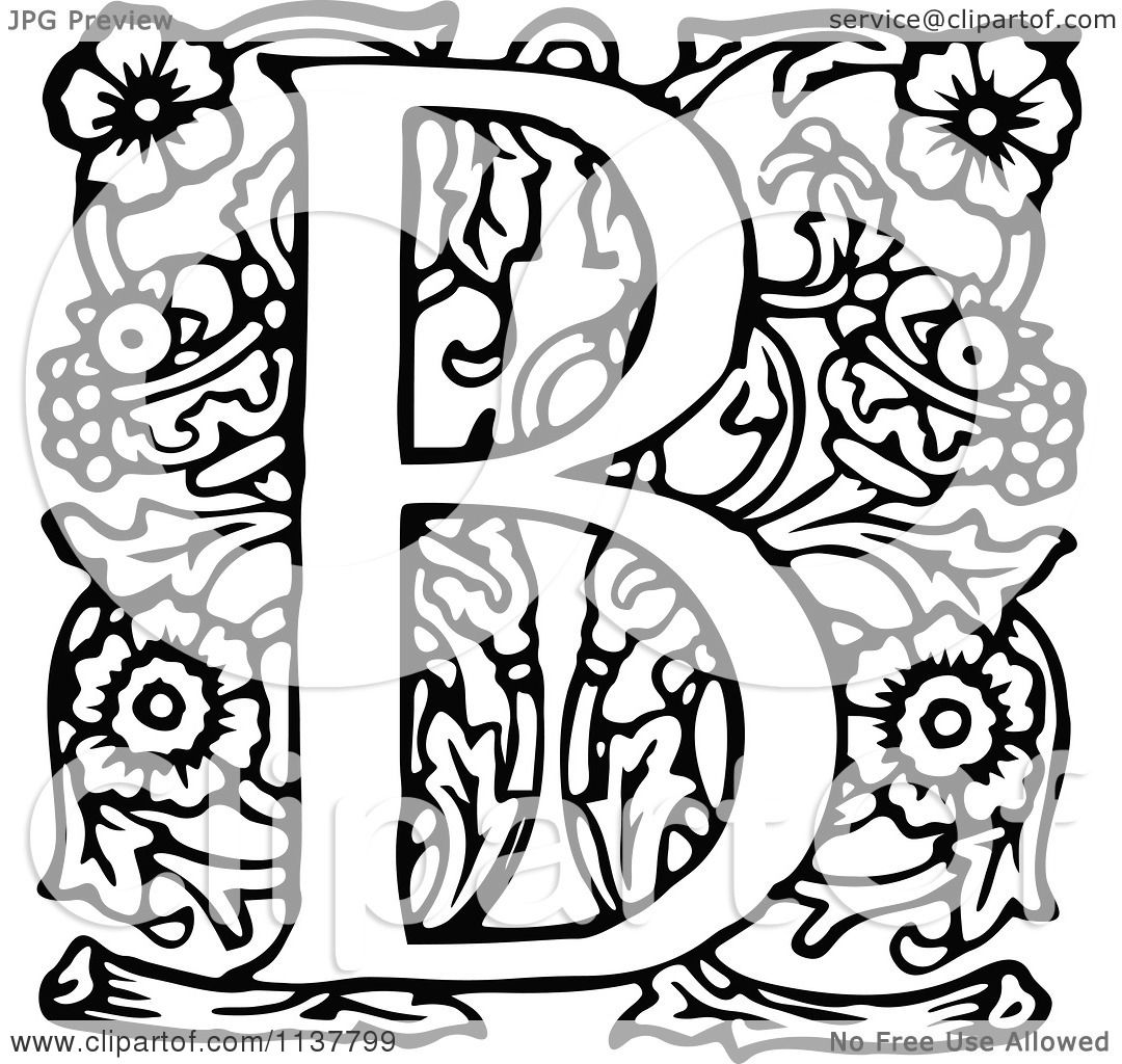 Clipart Of A Retro Vintage Black And White Ornate Letter B