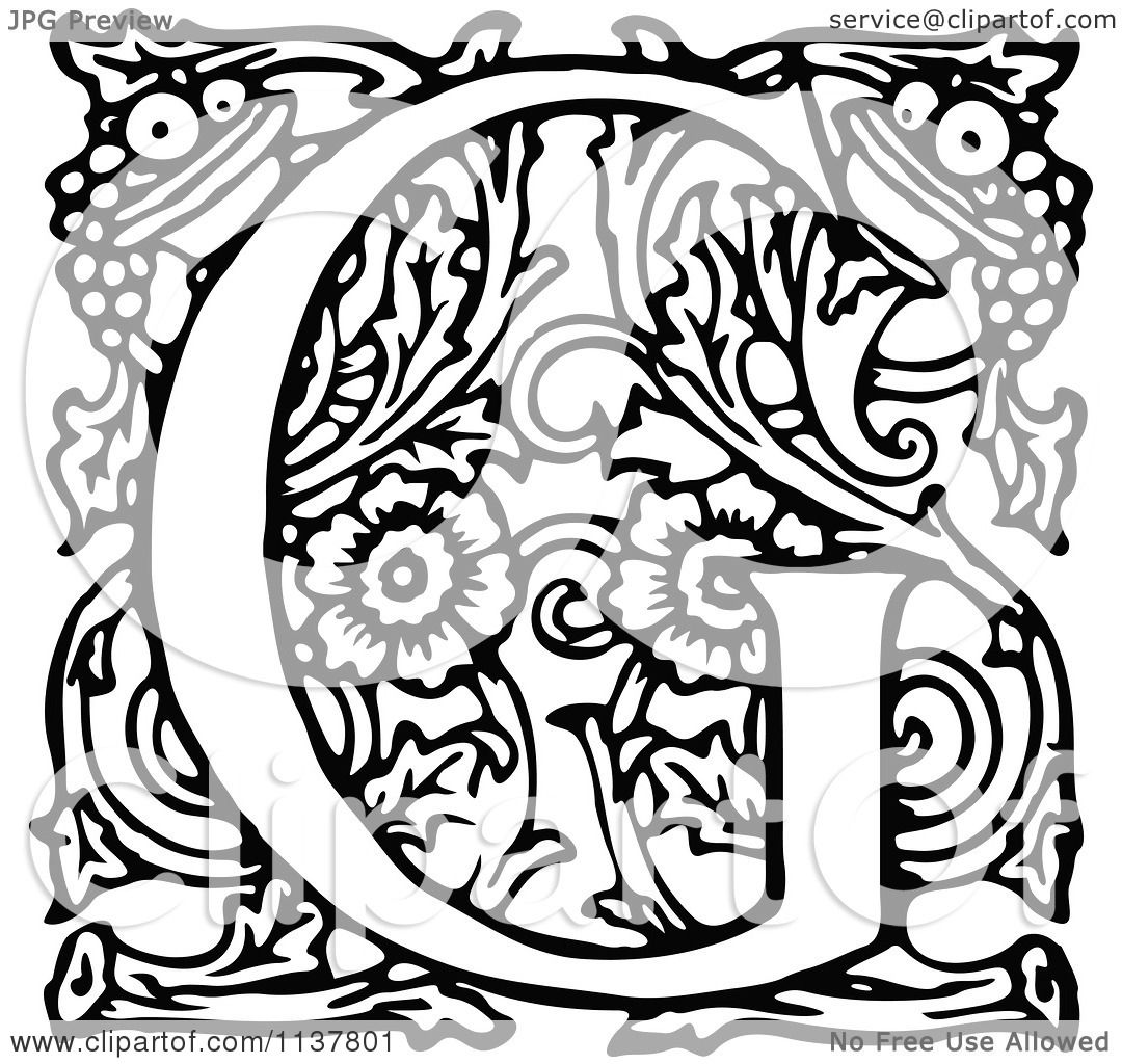 Clipart Of A Retro Vintage Black And White Ornate Letter G