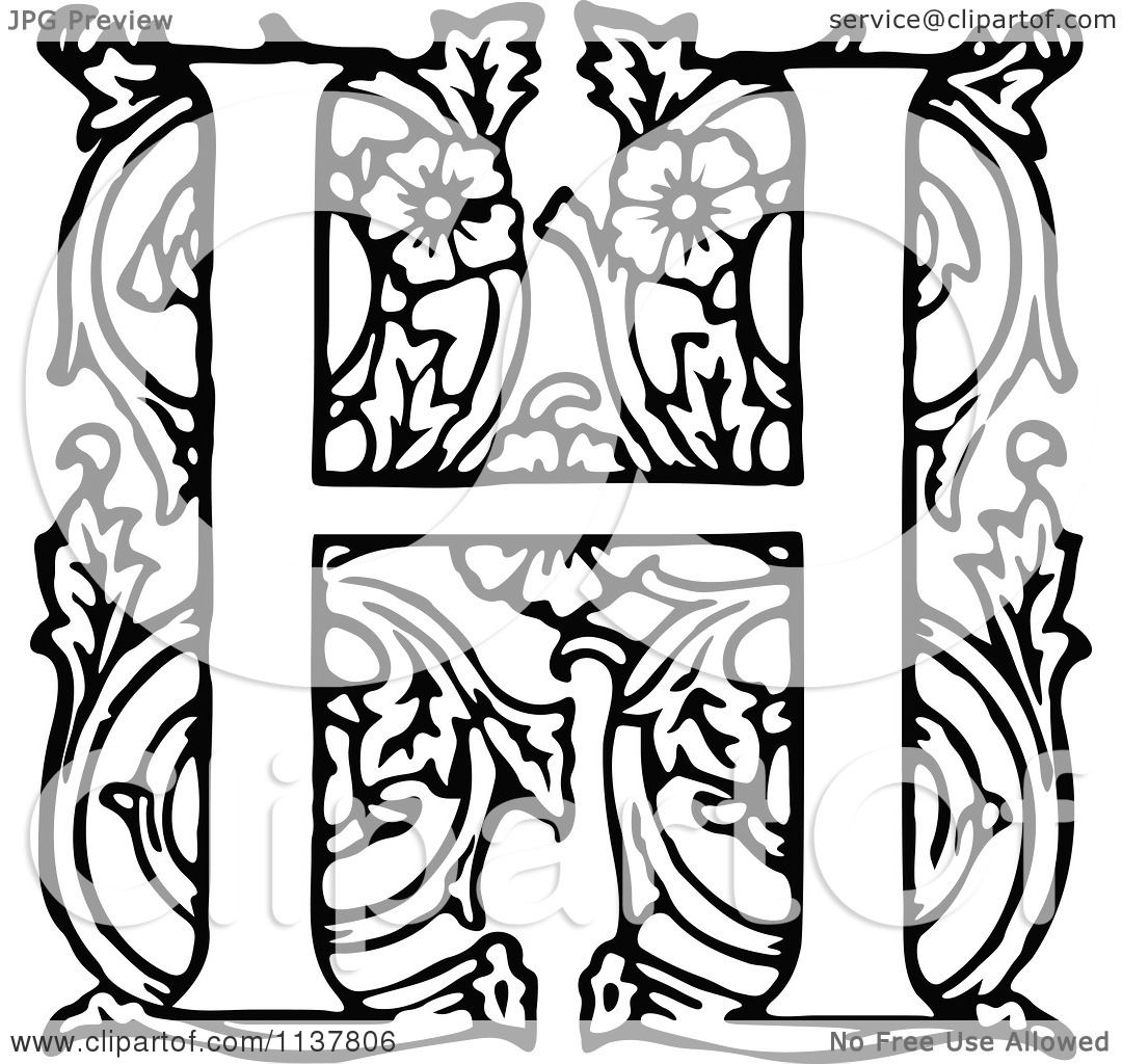 Clipart Of A Retro Vintage Black And White Ornate Letter H