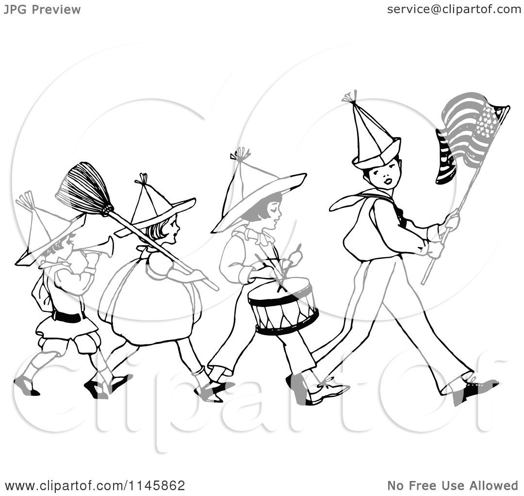 Clipart Of A Retro Vintage Black And White Patriotic Kid Marching Band